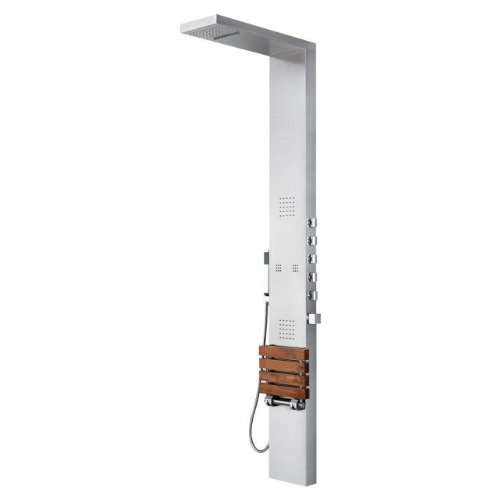 (Pulse 1035 Oahu Shower Spa with Brushed Stainless Steel and Chrome Hardware, Brushed Stainless Steel/Chrome)