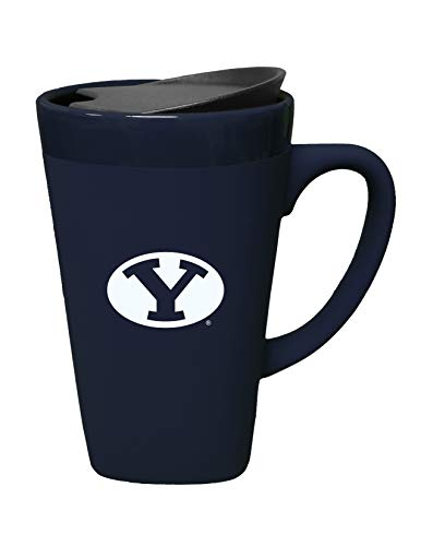 (The Fanatic Group Brigham Young University Ceramic Mug with Swivel Lid, Design 1 - Blue )