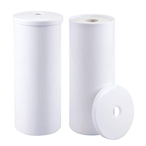 mDesign Modern Plastic Toilet Tissue Paper Roll Holder Canister Stand with Lid - Vertical Bathroom Storage for 3 Rolls of Toilet Tissue - Holds Large Mega Rolls - 2 Pack, White by mDesign