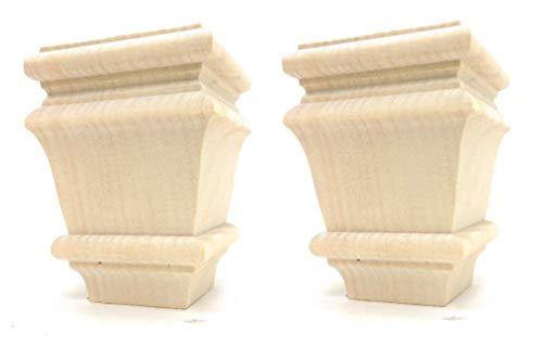 "Set of 2 Square Baymont Bun Foot - 4 1/2"" Tall x 3 3/8"" Wide (Pine)"