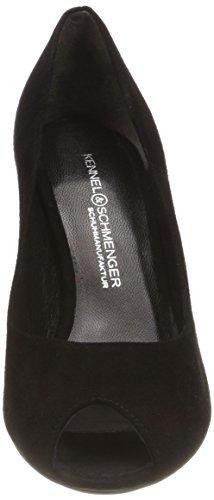 Abierta Punta und Schwarz Tacón Zapatos Mujer de para Kennel con Schmenger Gala 480 Negro 80acqd