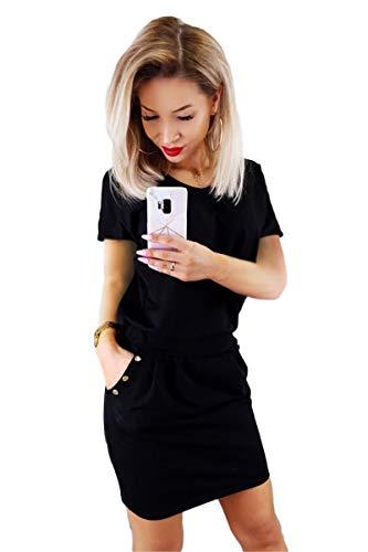 (Longwu Women's Short Sleeve Sheath Dress Bodycon Summer Mini Dress with Pockets Buttons Decorated Black-XL)