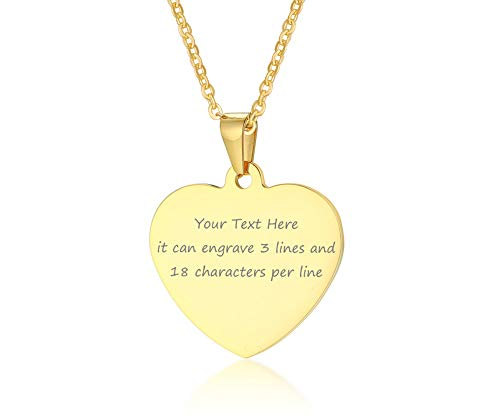 VNOX Customize Dainty Heart Shape 18K Gold Plated Stainless Steel Pendant Necklace
