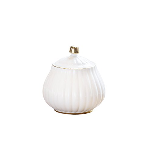 Colias Wing Kitchen&Home Decor Elegant Vertical Stripes Stylish Design Ceramic Coffee Milk Covered Sugar Bowl( 13 OZ)-White&Golden