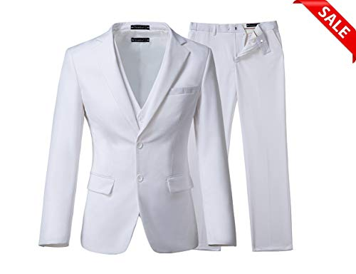 Yanlu Men's 3 Piece Royal Blue Suits 2 Buttons Wedding Groom Tuxedos (Chest44''/Waist38'', White)