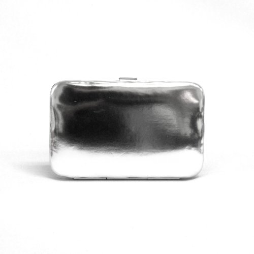 Fashion Quality Metallic Leather Small Flat Wallet Clutch (Leather Framed Clutch Wallet)