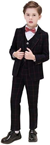 男の子のスーツボーイズスーツ5ピーススリムフィットドレスウェアスーツセット格子縞のスーツ