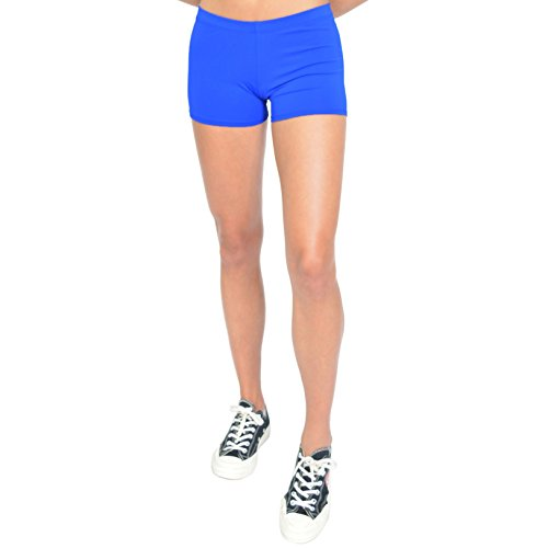Stretch is Comfort Women's NYLON SPANDEX Stretch Booty Shorts Royal Blue ()