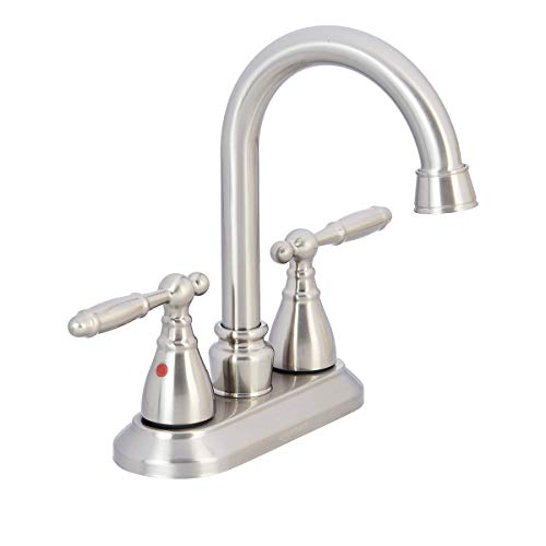 AmazonBasics Traditional Two Handle Bathroom Goose Basin Faucet, 4 Inch, Satin Nickel