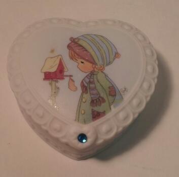 Precious Moments Heart Shaped Birthstone Box (Enesco Trinket)