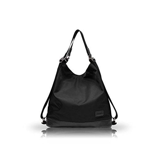 Nicole&Doris neue Leinwand Umhängetasche ocasional Umhängetasche doble weibliche Mochila de nylon Oxford Taschen(Black) Negro