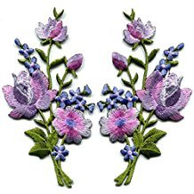 - Lavender pink silver roses pair flowers floral bouquet embroidered appliques iron-ons patches new patch measures 2.25 inches wide (measured from the widest point) by 4.5 inches tall. custom patch.