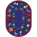 Joy Carpets Kid Essentials Early Childhood Oval ABC Animals Rug, Blue, 7'8'' x 10'9'' by Joy Carpets