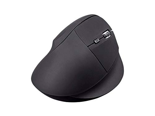 Monoprice Wireless Ergonomic Optical Mouse, Soft Touch Black, High Resolution Optical Sensor, 800/1200/1600/2400 DPI, Plug and Play - Workstream Collection