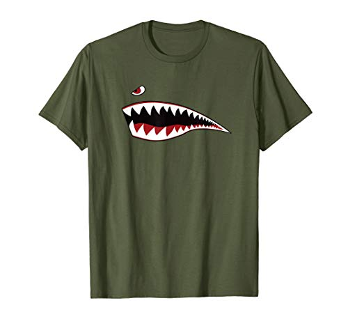 Shark Nose Art T-Shirt Green - WWII Military Plane