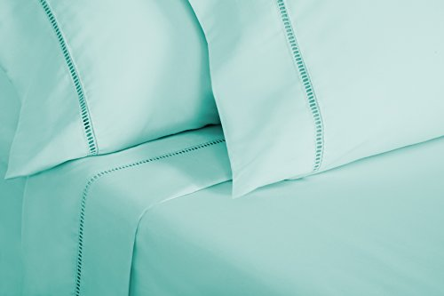 Grace Premium Microfiber Sheet Set - Super Soft, Deep Pocket, Embellished with Hypoallergenic, Wrinkle Resistant and Fade Resistant Brushed Microfiber – 4 piece set (Full, Soft Aqua) - bedroomdesign.us