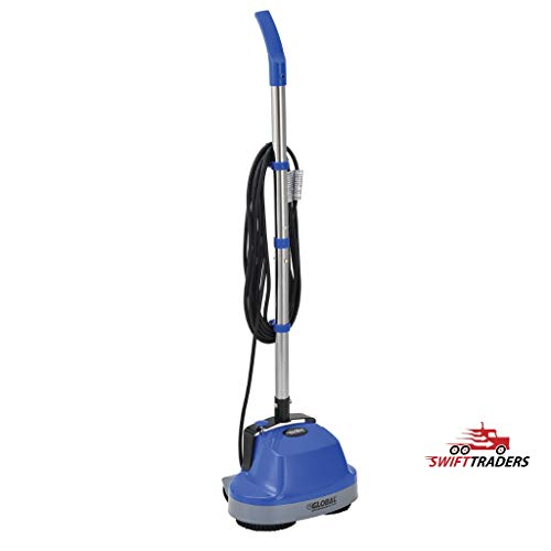 Mini Floor Scrubber With Floor Pads, 11″ Cleaning Path – For Scrubbing Tiles, Wood, Marble, Other Hardwood Floors, Carpets (Carpet-Cleaning Bonnets Included)
