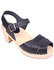 Lotta From Stockholm Swedish Clogs : Peep Toe Clogs In Black Leather