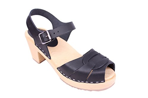 Lotta From Stockholm : Peep Toe Clogs in Black Leather