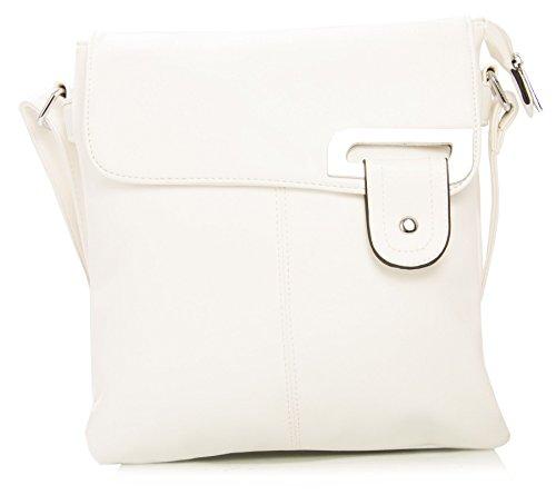 Big Handbag Shop - Bolso bandolera para mujer, tipo messenger, cruzado, tamaño mediano Blanco