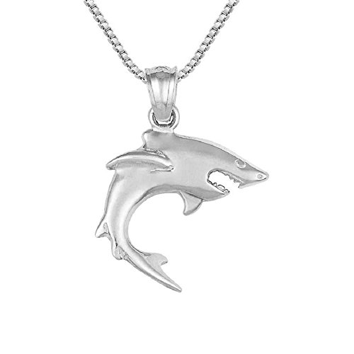 Sterling Silver Shark Charm / Pendant, Made in USA, 18