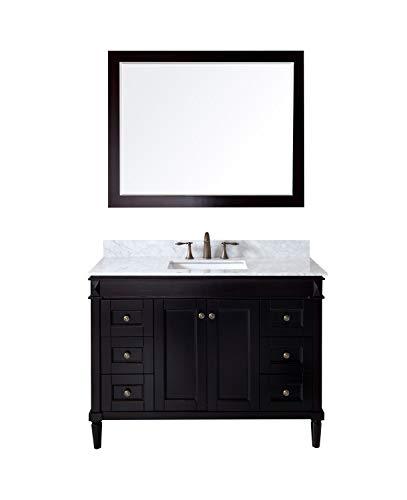 - Virtu USA Tiffany 48 inch Single Sink Bathroom Vanity Set in Espresso w/Square Undermount Sink, Italian Carrara White Marble Countertop, No Faucet, 1 Mirror - ES-40048-WMSQ-ES