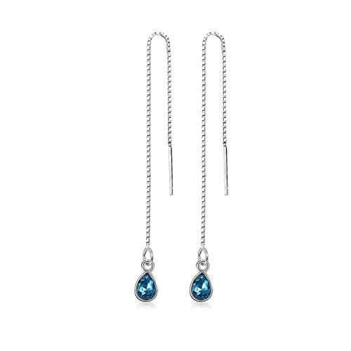 925 Sterling Silver Moonstone Drop Earrings Colorful Droplet Dangle Threader Earrings for Women