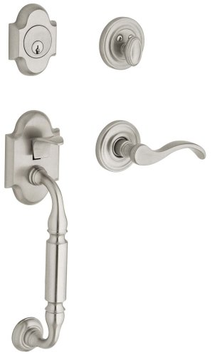 - Baldwin 85305.150.RFD Canterbury Sectional Trim Right Hand Dummy Handleset with Wave Lever, Satin Nickel
