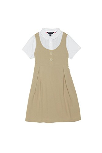 French Toast Big Girls' Peter Pan 2-Fer Dress, Khaki, 10 (Uniform Dress School)