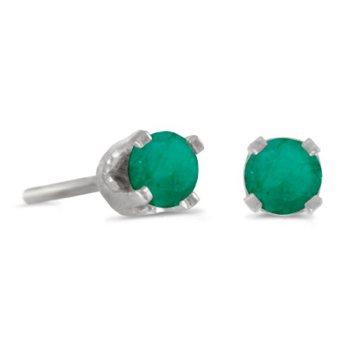 3-mm-Petite-Round-Genuine-Emerald-Stud-Earrings-in-14k-White-Gold