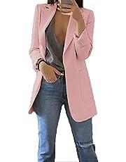 LIAOPUFUS Women Casual StyleSuit Open Blazer Long Sleeve Office Work Wear Cardigan Jacket with Front Pocket
