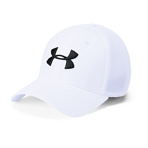 (Under Armour Men's Microthread Golf Mesh Cap, White (100)/Academy, Medium/Large )