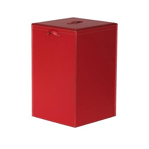 DAVID: Panier à linge en cuir régénéré couleur Rouge, avec Sac à linge amovible.
