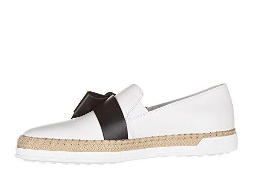 Tod's slip on femme en cuir sneakers caoutchouc Rafia fiocco blanc