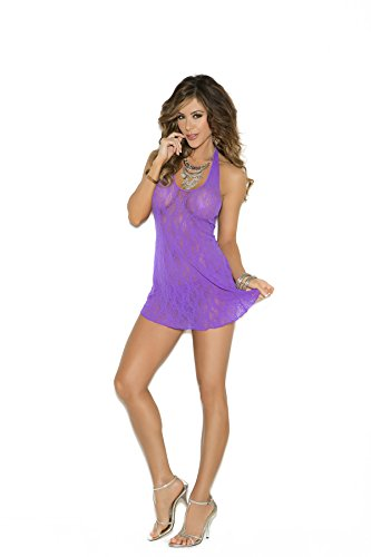 Elegant Moments Gowns - Elegant Moments Lace Halter Mini Dress, Purple, One Size