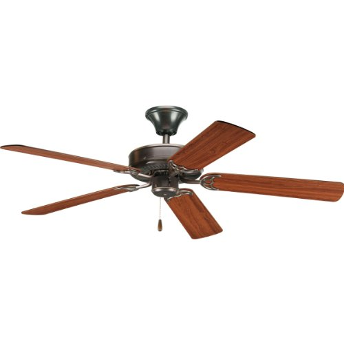 Progress Lighting P2501-20 52-Inch Fan with 5 Blades and 3-Speed Reversible Motor with Reversible Medium Cherry or Classic Walnut Blades, Antique Bronze (Antique Bronze Cherry)