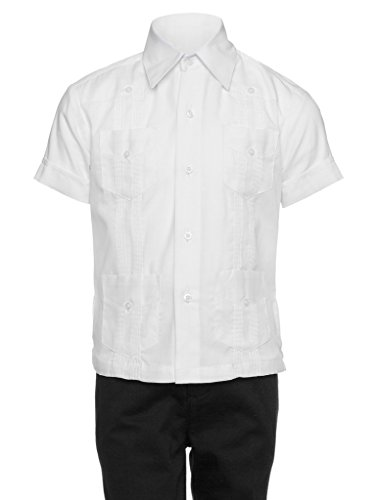 Gentlemens Collection Guayabera Shirt for Boys - Linen Look Cuban Shirt Great for Beach Wedding White
