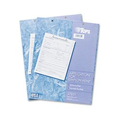 ** Employee Application Form, 8 3/8 x 11, 50/Pad, 2/Pack **