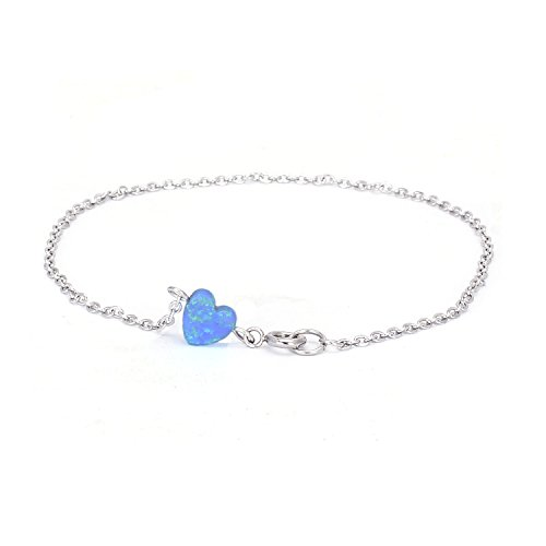 Blue Opal Heart-shaped Anklet Semi-precious Birthstone Jewelry Silver Chain Link Anklet for (Blue Semi Precious Stone)