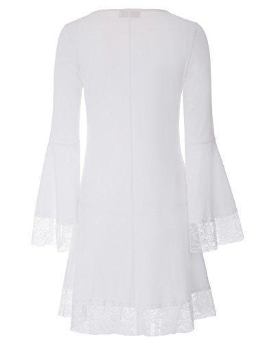 T Donne ~ kk1122 Kk1122 Bianco Tunica A Pizzo Sciolto shirt Maniche Xxl Kate S Midi Top 2 Kasin Lunghe Casuale Abito 0qdAZAw