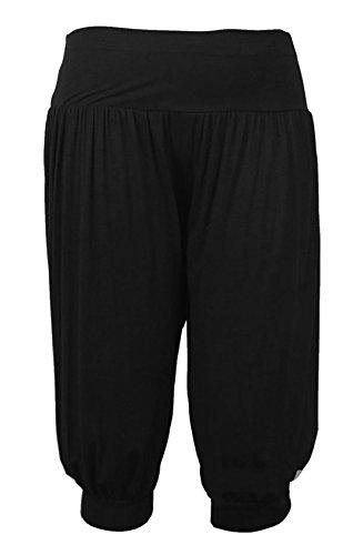 Islander Fashions Ladies 3/4 Ali Baba Harem Pantaloni larghi Womens Fancy Cropped Legging Pantaloni S/XXXL Black