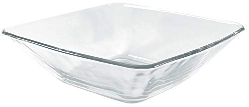 - ITI Fiore Square Glass Salad Bowls with Pan Scraper, 16 Ounce, Clear (6-Pack, 6.75 Inch)