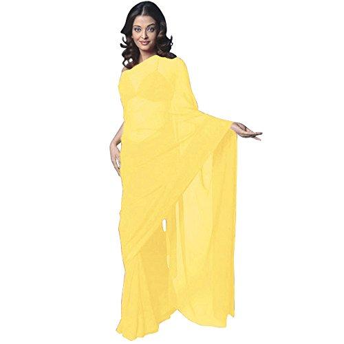 Chiffon Bollywood BellyDance Indian Saree Sari - Yellow