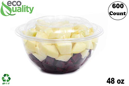 Rice Rose Bowl - 48oz Clear Disposable Salad Bowls with Lids (600 Pack) - Clear Plastic Disposable Salad Containers for Lunch To-Go, Salads, Fruits, Airtight, Leak Proof, Fresh, Meal Prep | Rose Bowl Container (48oz)