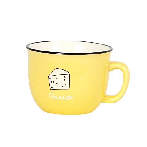 Momugs 8 oz Coffee Cup Cute Yellow Ceramic Tea Cup Lovely Small Milk Mug,Yellow
