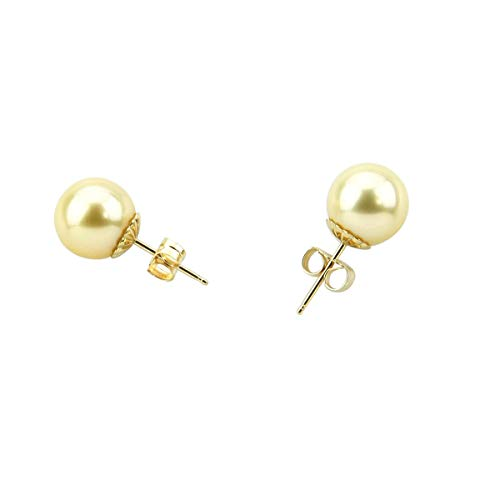 Akwaya Fine Jewelry 14K Yellow Gold 9.0-10.0 mm AAA Quality Natural Golden South Sea Cultured Pearl Earrings for Women