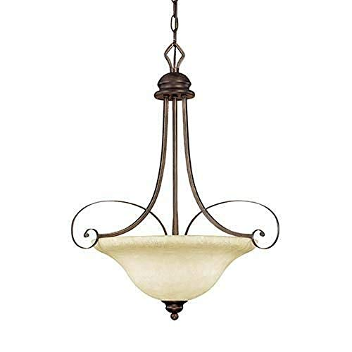 - Millennium Lighting 1083 RBZ Chateau - Three Light Pendant, Rubbed Bronze and Dark Brushed Bronze Finish with Turinian Scavo Glass