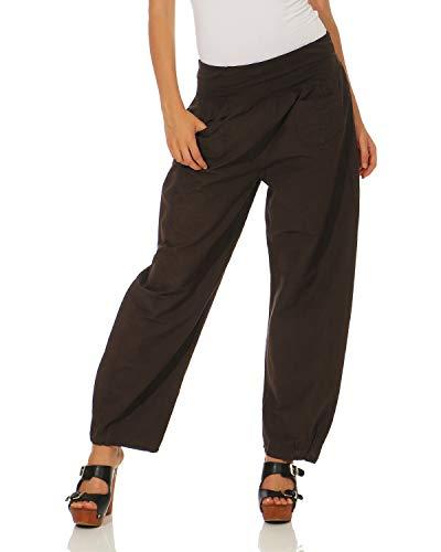 ZARMEXX casual pantaloni di lino da donna pantaloni semplici Marrone