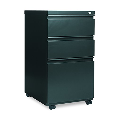 Alera PB53-2819CH PB532819CH 14-7/8 x 19-1/8 CharcoalThree-Drawer Metal Pedestal File w/Full-Length Pull, Charcoal by Alera