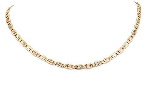 Real 10K Tri Color Yellow, White, Rose Gold Flat Anchor Valentino Chain 2.0MM 16